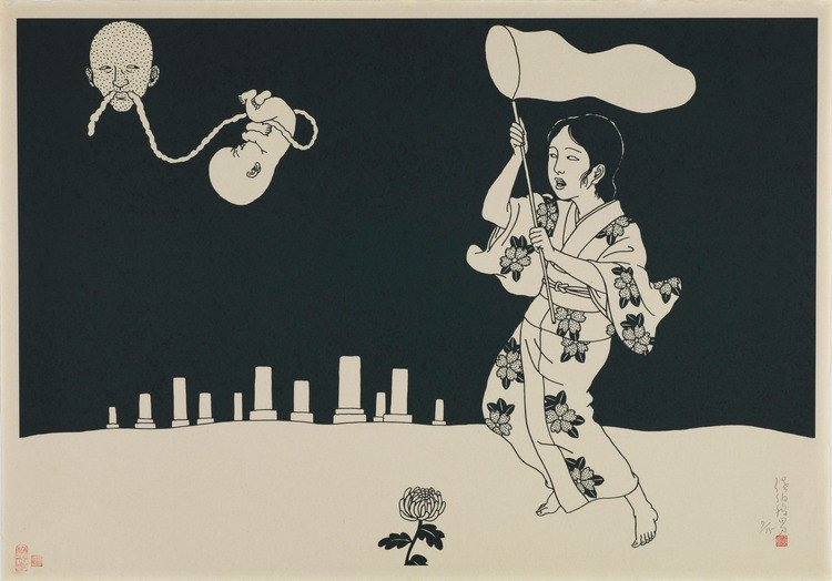 Toshio Saeki: black and white print with a girl trying to catch an embryo with with a fish net
