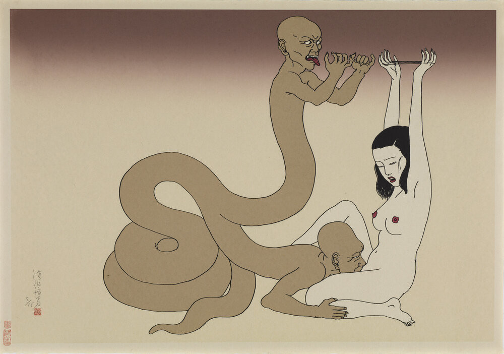 Toshio Saeki: two-headed snalke with human upper bodies performing cunnilingus on a nude tied girl