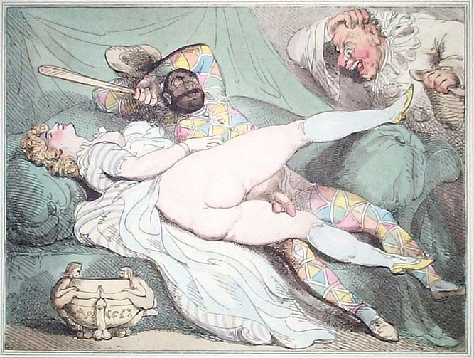 thomas rowlandson: erotic drawing with A man catches his wife who is having sex with a jester