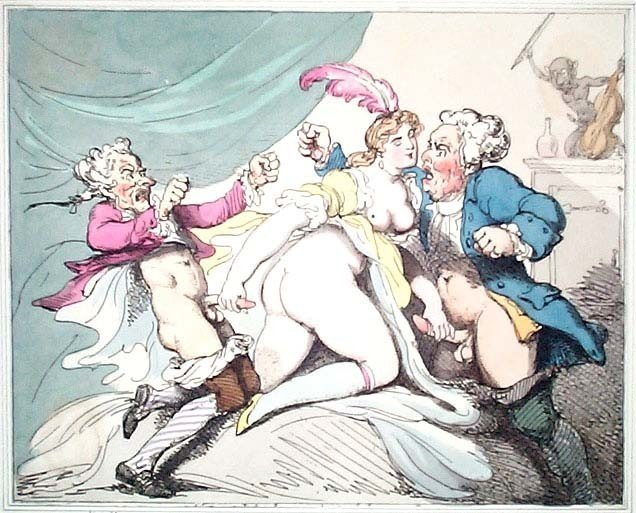 thomas rowlandson: erotic drawing with a showgirl serving two quarreling old men at the same time