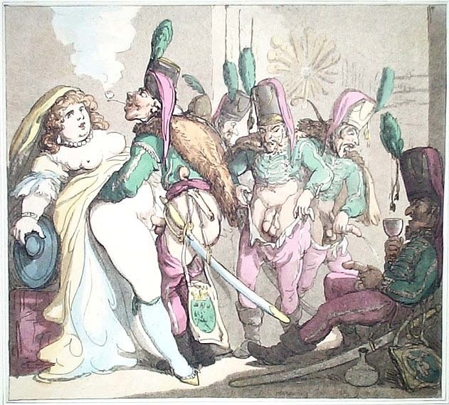 "thomas rowlandson: erotic drawing with Catherine the Great ""inspecting"" the troops"