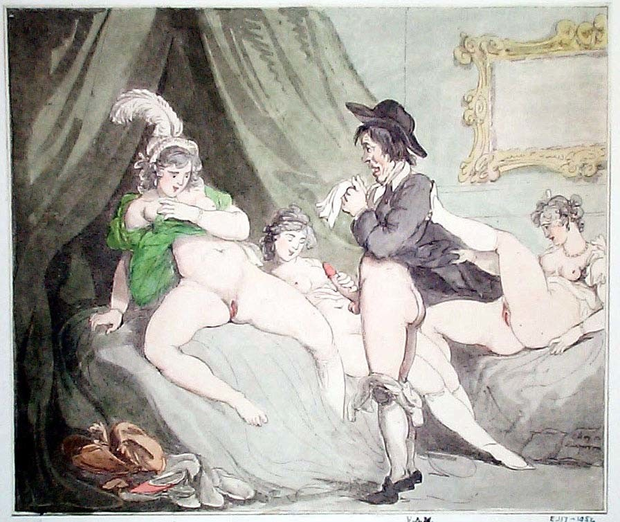 thomas rowlandson: erotic drawing with three hookers and a shy male client