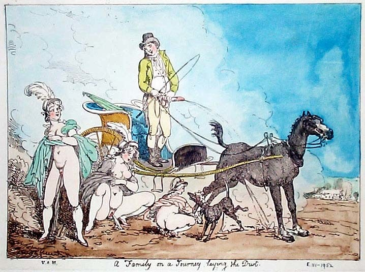 thomas rowlandson: erotic drawing with a man, three women, a horse and a dog urinate on a dirt road
