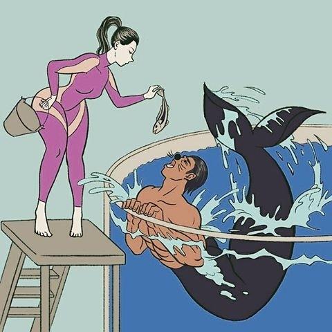 female trainer feeding merman by Pigo Lin