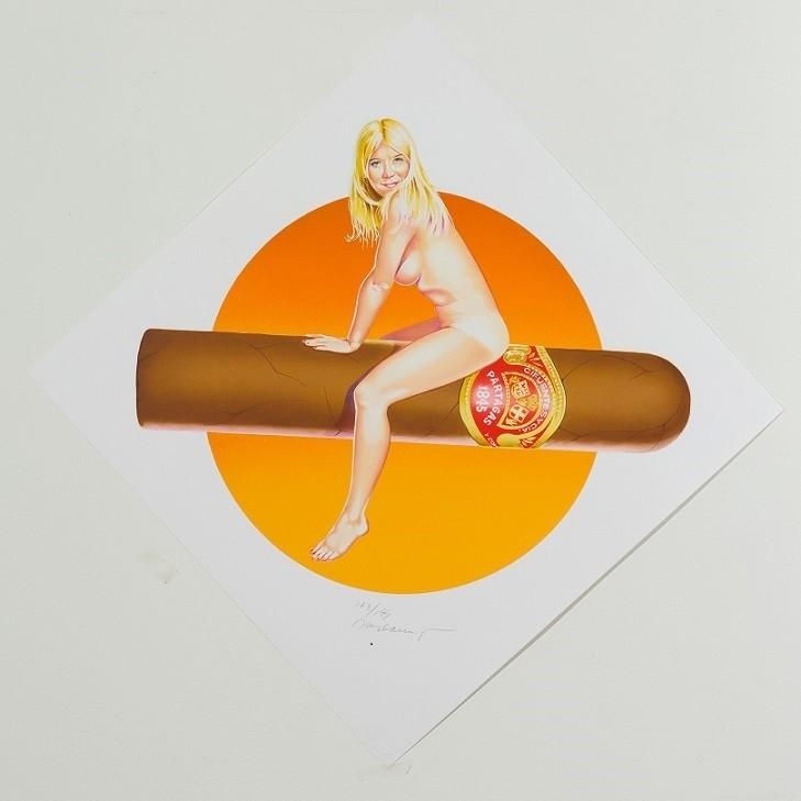 Mel Ramos pinup sitting on cigar