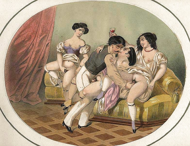 French erotic painting orgy on the couch