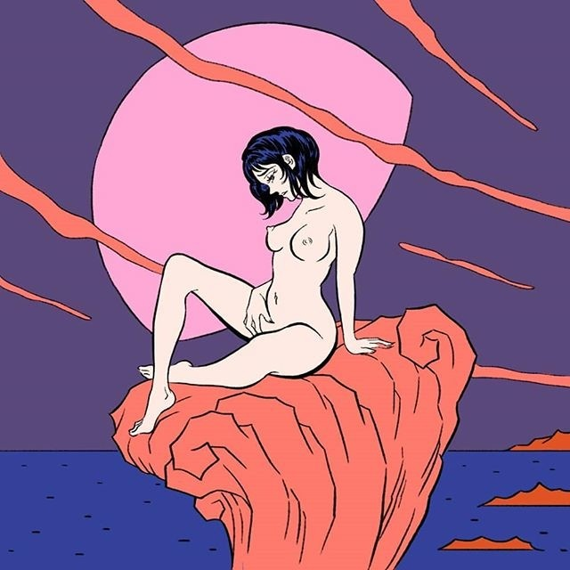 Pigo Lin: A sad nude female sitting on a rock in the sea