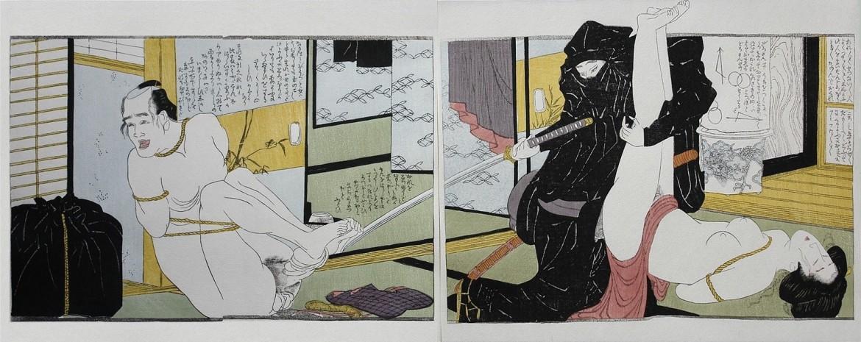 Hokusai shunga reproduction of his shocking rape design