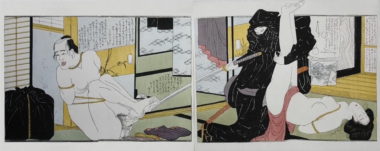close up genitalia: Hokusai shunga masterpiece