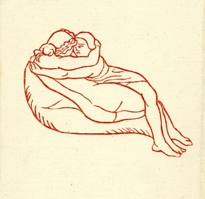 Young couple making love on couch Aristide Maillol