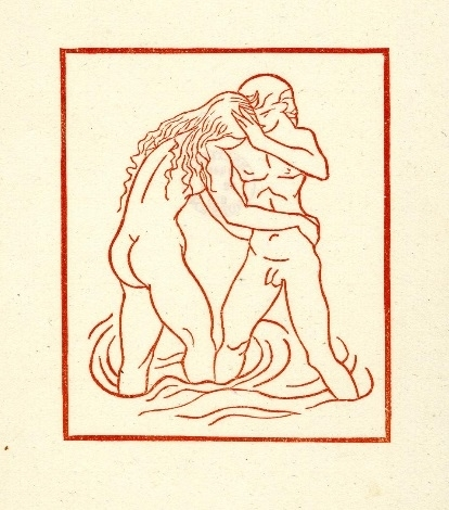 Young couple standing in water Maillol