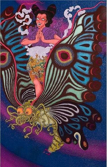 Yuji Moriguchi: possessed girl standing on a giant butterfly