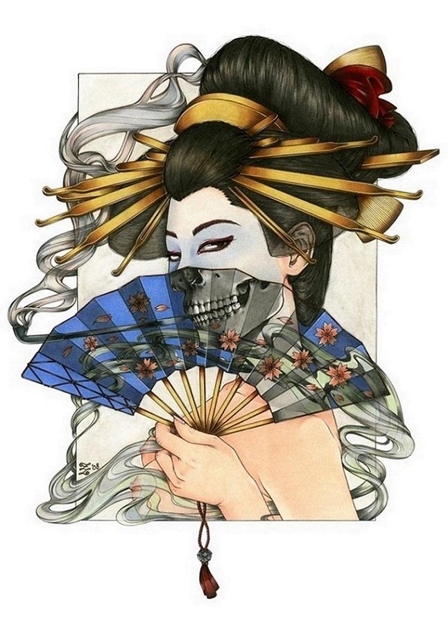 zoe lacchei geisha with the fan