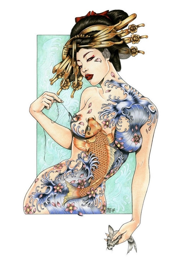 zoe lacchei tattooed geisha
