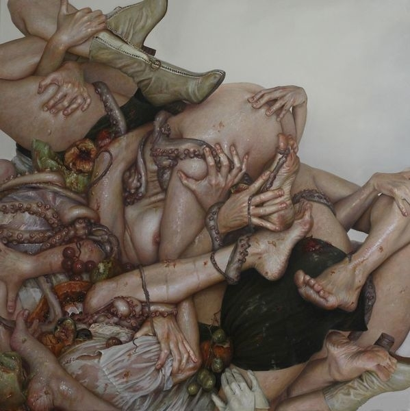 Entanglement of human hands, feet and tentacles