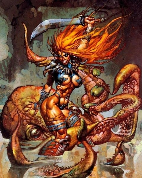 A red haired female warrior slaying a giant octopus with a sword