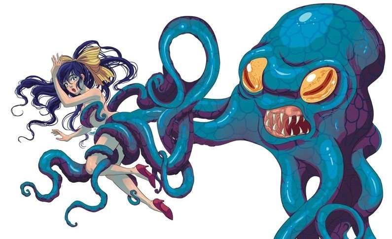 Young girl being grabbed by a giant blue octopus