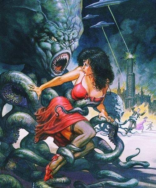 An alien octopus is grabbing a running lady