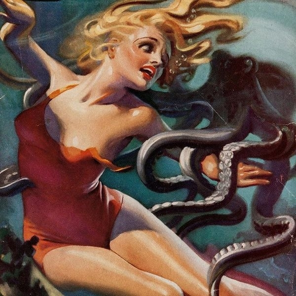 Girl in vintage bathing suit with octopus
