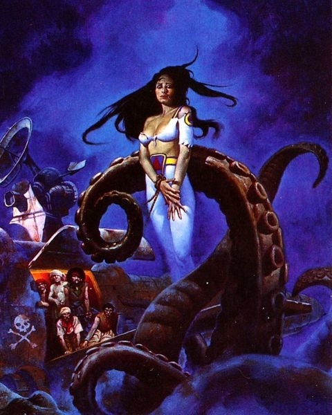 A girl walking the pirate's plank being taken by tentacles from the sea