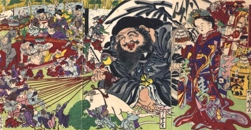 Daikokuten god of wealth by Kyosai