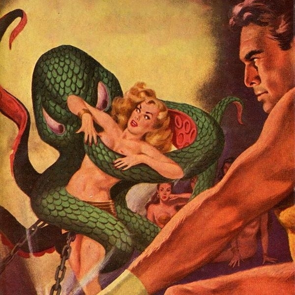 A hero about to rescue a woman from an octopus