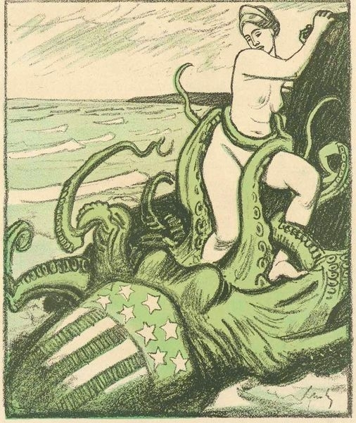 Satirical picture of an american octopus grabbing a european woman