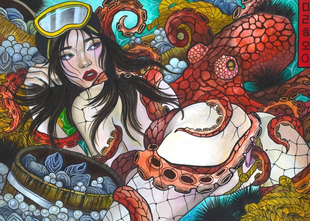 Modern painting of an octopus and ama diver