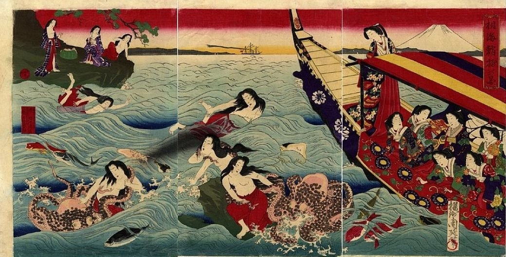 triptych with ama divers and octopuses by Chikanbou