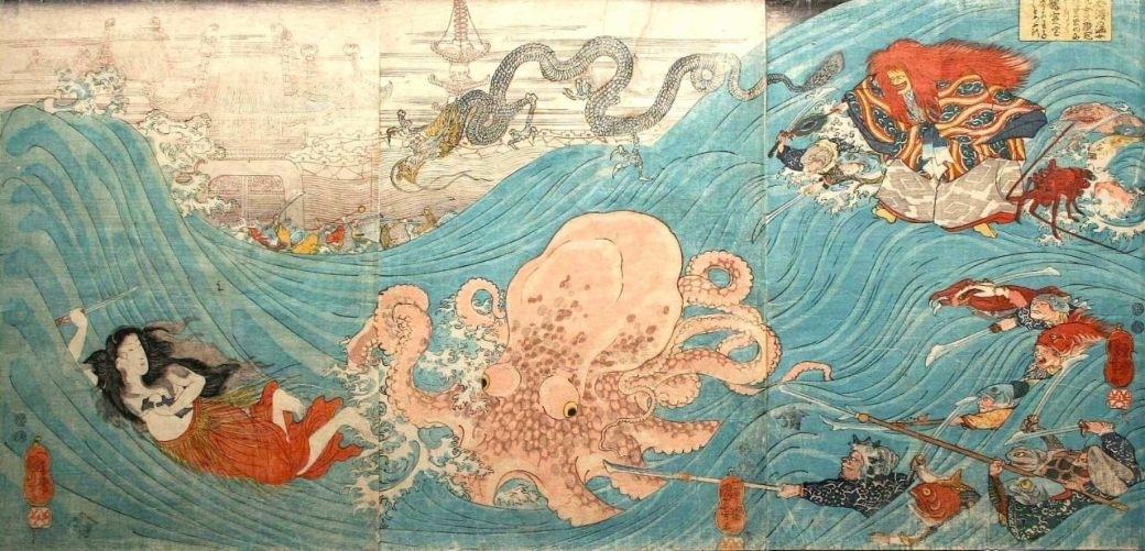 'Shizu no ama otome Daishokan' by Utagawa Kuniyoshi (1797-1861)