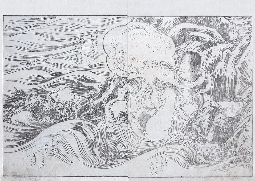 Print of a diver with octopus that inspired Hokusai