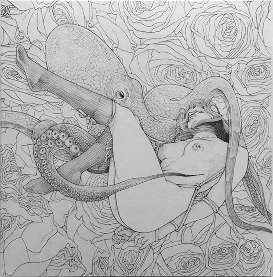 sketch of an octopus grabbing a female beauty