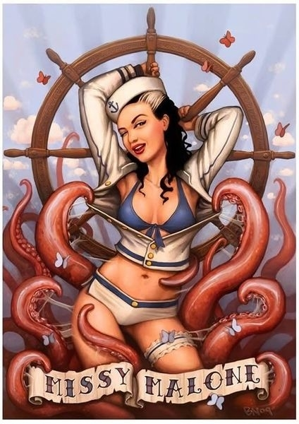Retro girl with tentacles and steering wheel