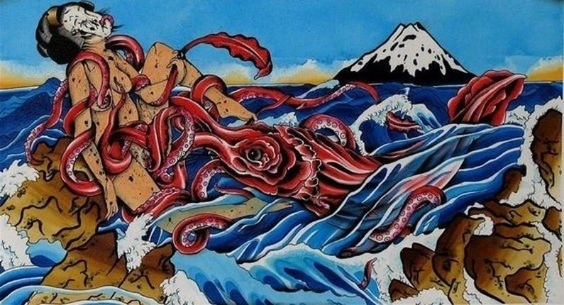 Woman in waves with octopus and mout fuji in the background