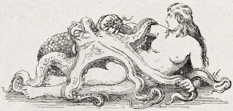 Woman lying with octopus on her lap