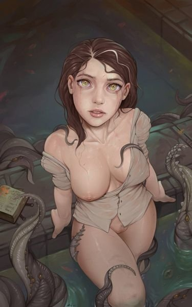 Girl looking up to a tentacle creature