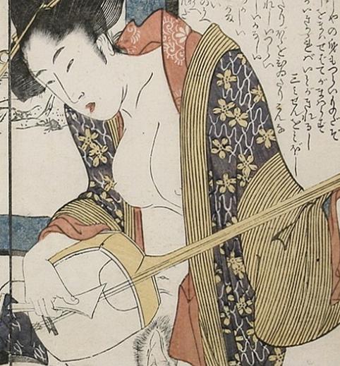 Geisha playing Shamisen by Utamaro
