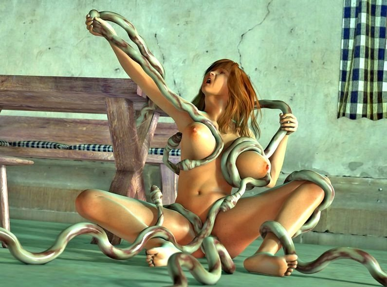 A girl trying to hold off a string of tentacles