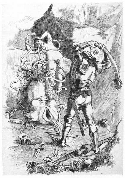 A knight trying to free a woman from a tentacle demon
