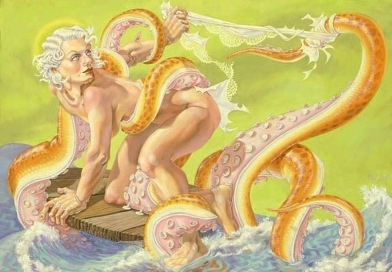 A Leviathan being assaulted on a raft at sea