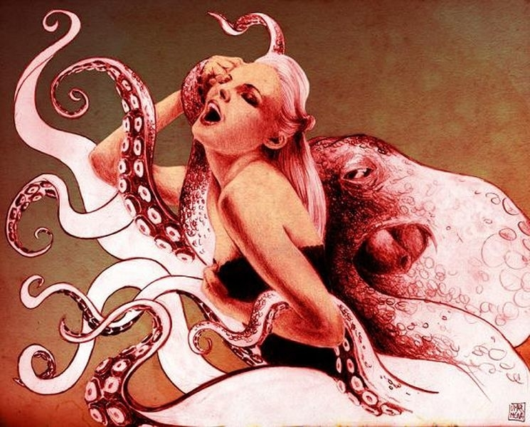 A female beauty is caressing the tentacles of an octopus