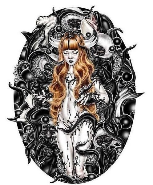 sensual tentacle art with nude girl surrounded by black creatures