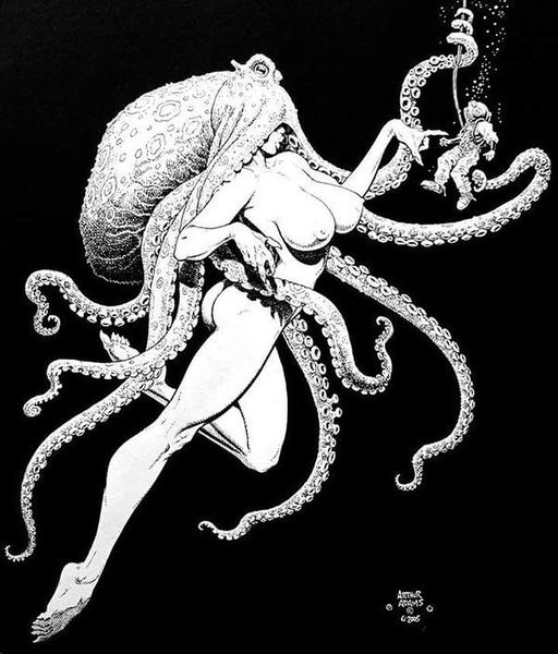A nude beauty with an octopus on her head is poking a dwarf diver