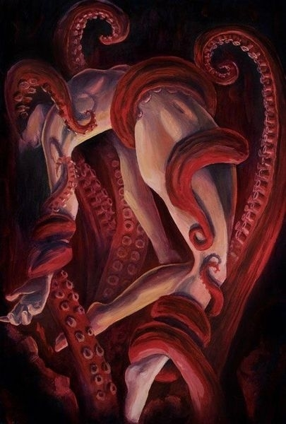 A nude woman lifted up by tentacles