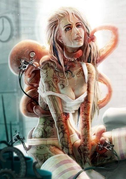 Octopus tattoonig a lady
