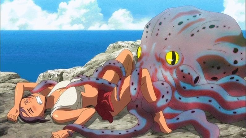 An octopus is deflowering a youg woman