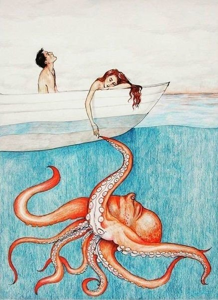 couple having sex in a boat with the female holding the tentacle of an octopus under water