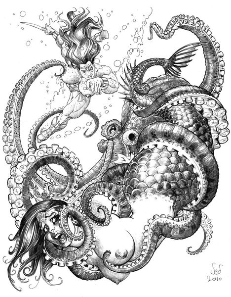 Longhaired herione rescueing a woman from an octopus