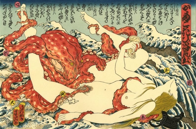 Girl pleased by octopus