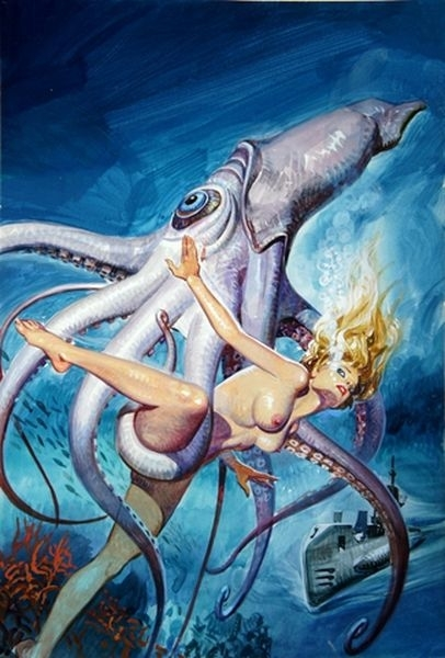 Woman being captured by giant squid